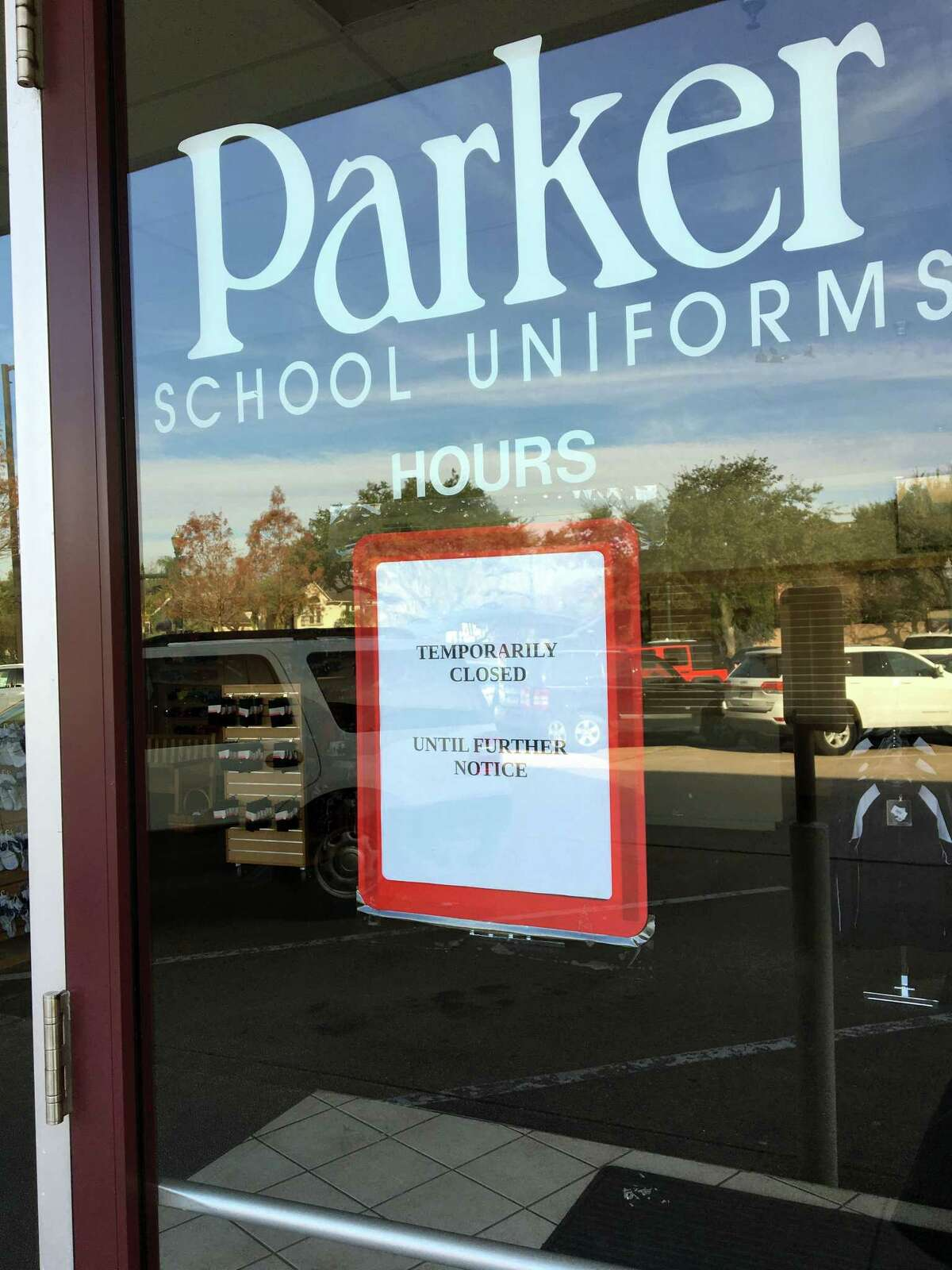 A sign at the Parker School Uniforms on the corner of Bellaire and Braes boulevards said it was Â?