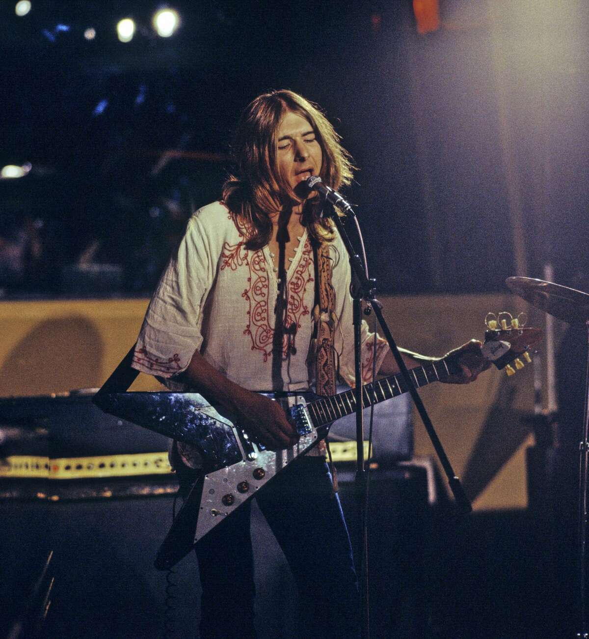 Mick Ralphs of Mott The Hoople performs at Island Records' Basing Street Studios in London on Aug. 10, 1971. He plays a Gibson Flying V guitar.