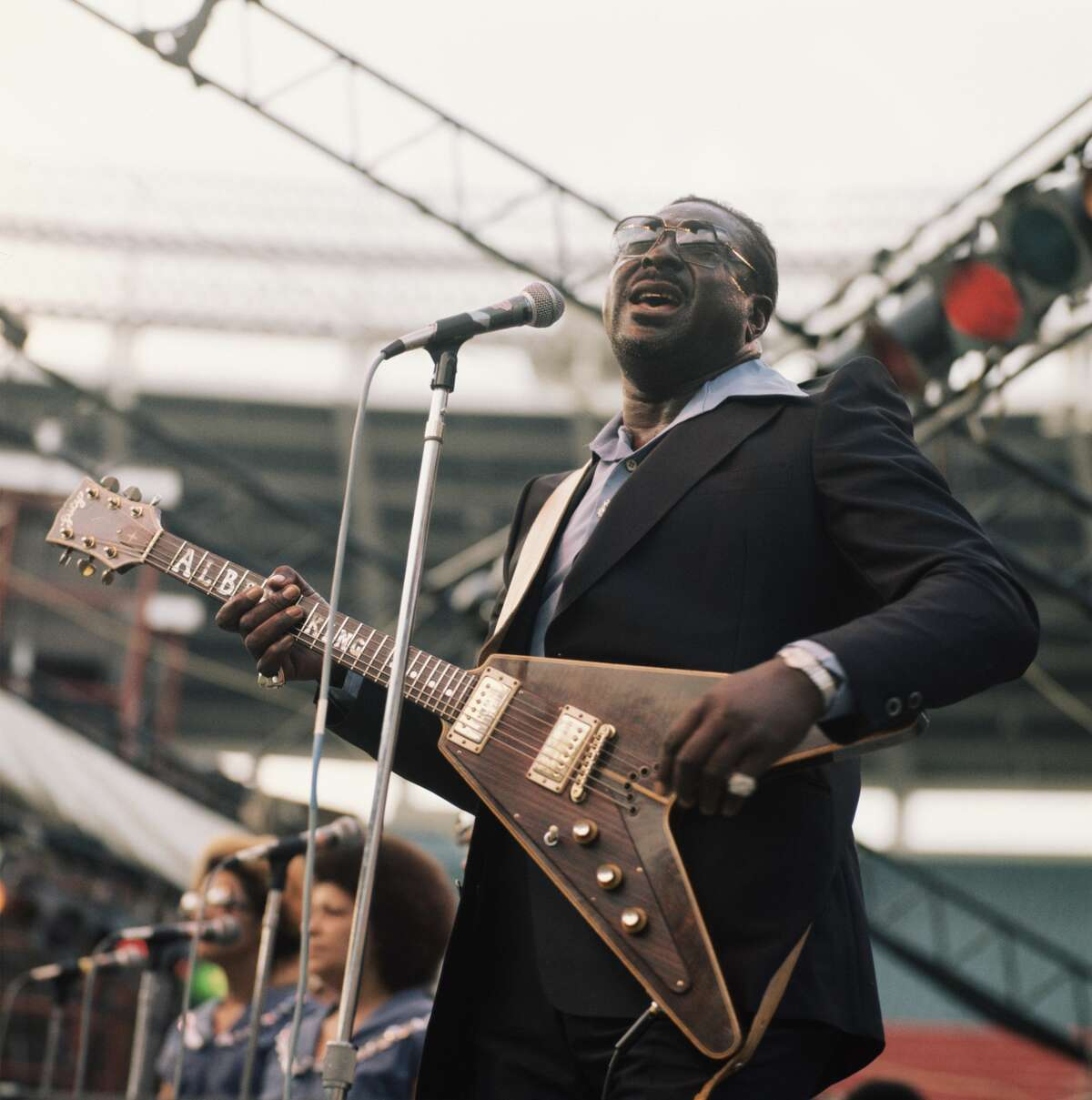 Albert King (1923-1992), blues guitarist and singer, performs on stage as part of the Newport Jazz Festival, held in New York City, in July 1977.