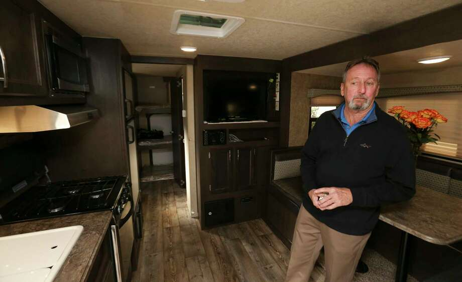 Hurricane Harvey flooded homeowner Scott Short, 66 is currently living in this 8' x 20' FEMA RV on his drive way on Thursday, Jan. 4, 2018, in League City. Short has been living in his house, which is under renovation, on Chalmette Street for 22 years and has been living in the RV for about two weeks. ( Yi-Chin Lee / Houston Chronicle ) Photo: Yi-Chin Lee, Houston Chronicle / © 2018  Houston Chronicle