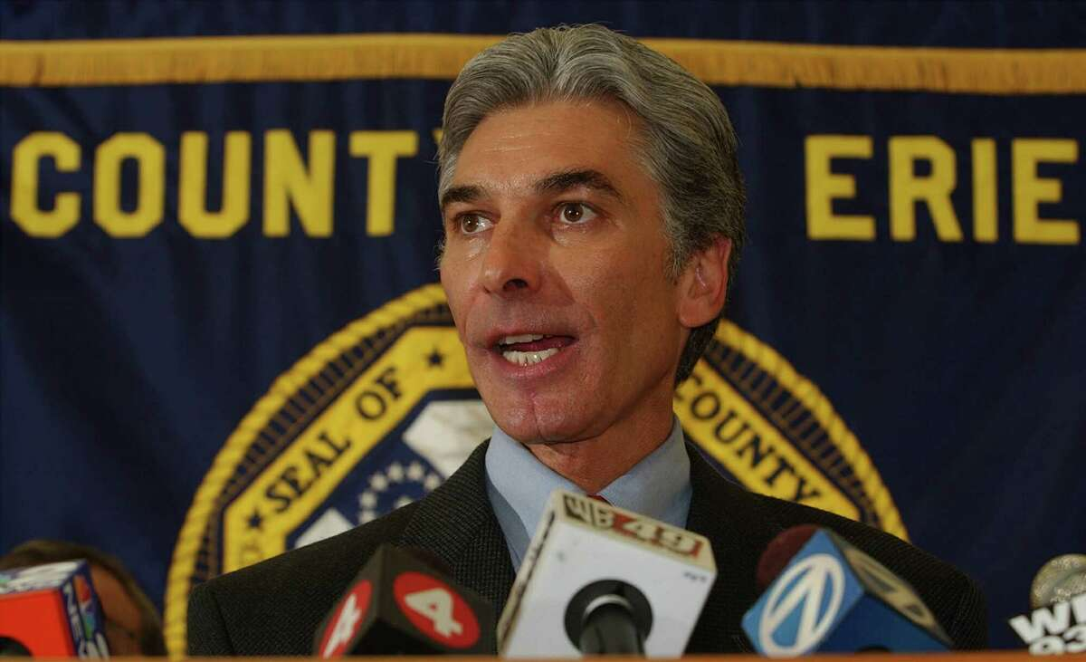 Erie County Executive Joel Giambra speaks at a press conference in County Hall in Buffalo, N.Y., in this Jan. 2, 2005, file photo. (AP Photo/Buffalo News, Harry Scull Jr)