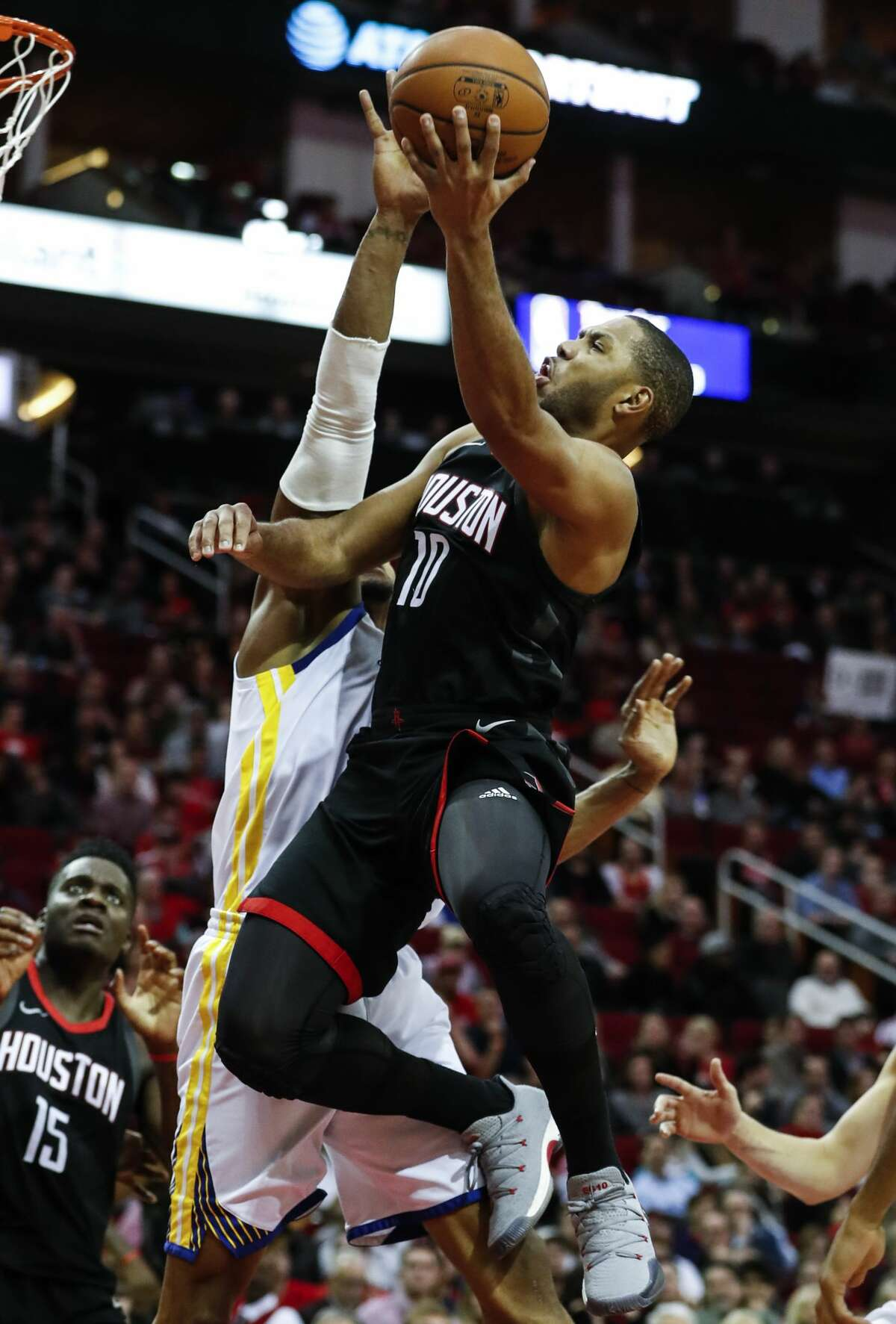 Houston Rockets guard Eric Gordon (10) drives to the basket against the Golden State Warriors during the second quarter of an NBA basketball game at Toyota Center on Thursday, Jan. 4, 2018, in Houston. ( Brett Coomer / Houston Chronicle )