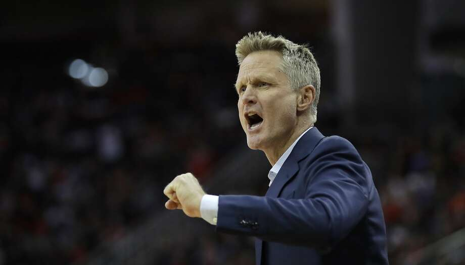 Golden State Warriors coach Steve Kerr yells at the officials during the first half of an NBA basketball game against the Houston Rockets Thursday, Jan. 4, 2018, in Houston. (AP Photo/David J. Phillip) Photo: David J. Phillip, Associated Press