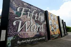 """""""The Fruits of Fifth Ward"""" mural is a tribute the men, women and children of the Fifth Ward, located along Jensen Drive, Tuesday, June 21, 2016, in Houston. (Gary Coronado / Houston Chronicle)"""