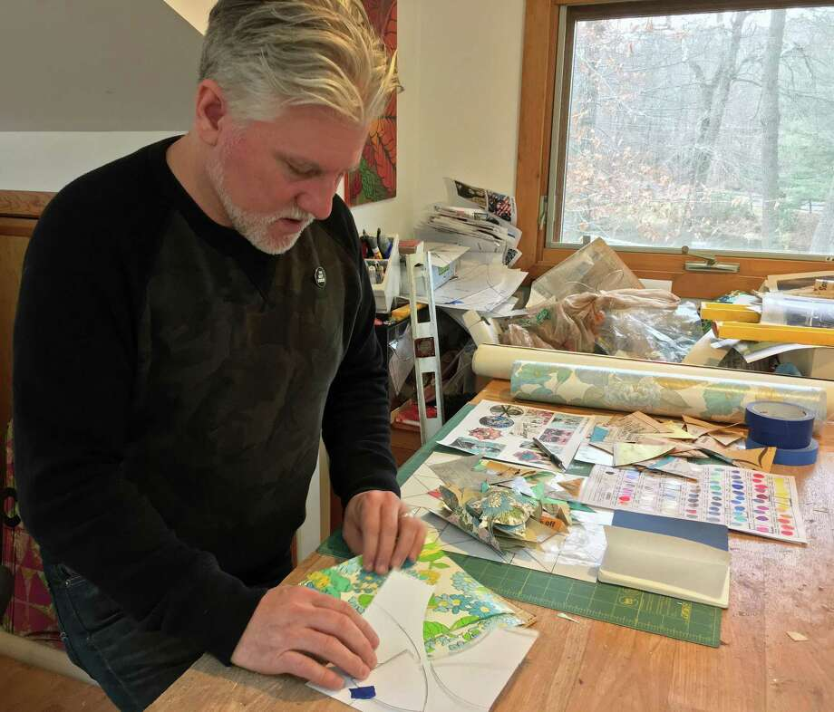 Robert Mars works in his Redding studio. His work incorporates two distinct American styles — pop and folk art. Photo: Christina Hennessy / Connecticut Hearst Media / Stamford Advocate