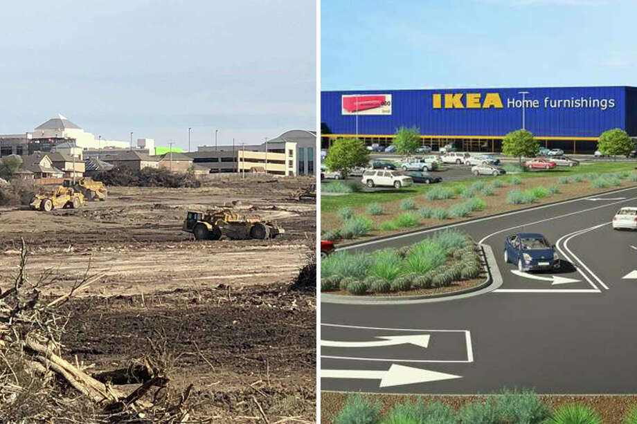 Left, crews clear land near the intersection of Interstate 35 and Loop 1604 in Live Oak for what will be the new IKEA store. Right, a rendering of the store, expected to open in 2019. Photo: Fares Sabawi/San Antonio Express News And Courtesy, IKEA