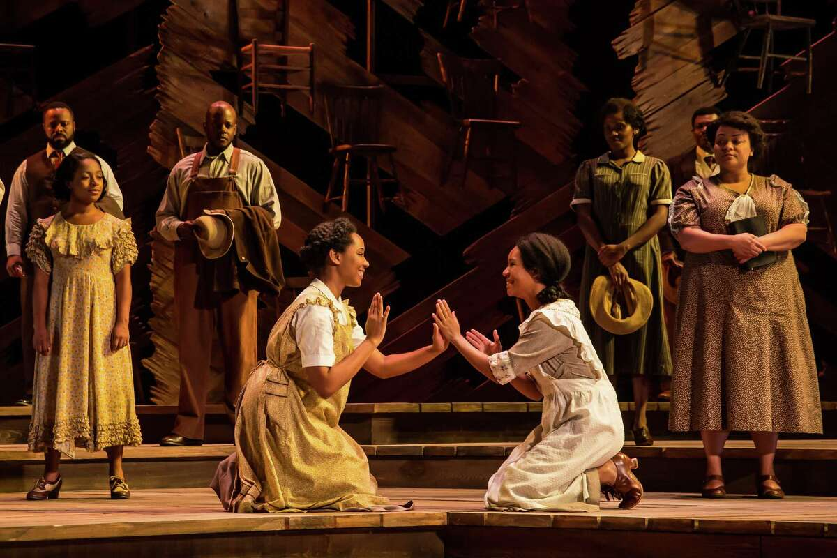 """Adrianna Hicks (Celie) and N'Jameh Camara (Nettie) and the North American tour cast of """"The Color Purple."""""""