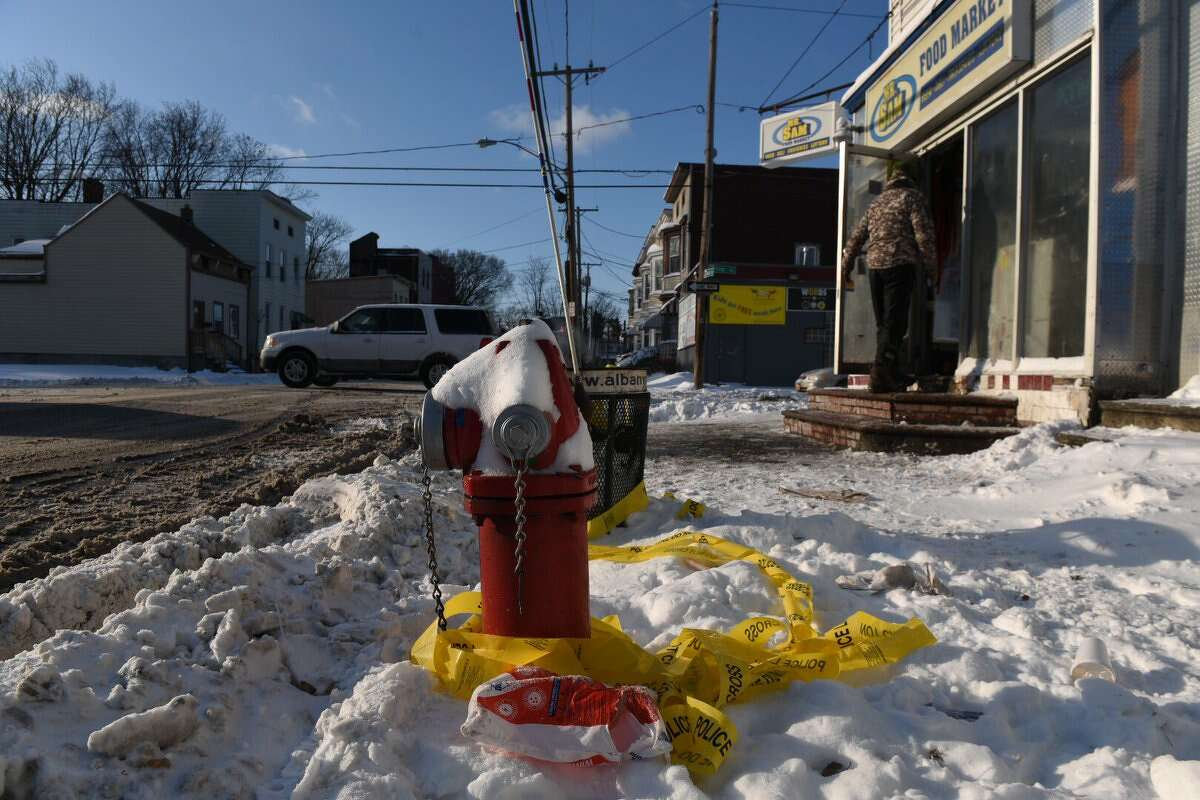 A makeshift memorial can be seen on Friday, Jan. 5, 2018, at First and Quail in Albany for Thursday's shooting victim. (Will Waldron/Times Union)