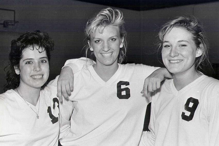 Churchill volleyball players Debbie Sanchez (13), Kristen Sparks (9), and Rachel Witliff (6) in 1988.