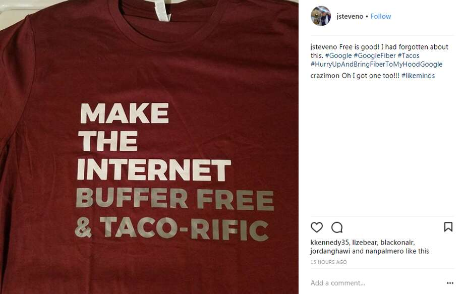 jsteveno: Free is good! I had forgotten about this. #Google #GoogleFiber #Tacos #HurryUpAndBringFiberToMyHoodGoogle Photo: Instagram, Twitter