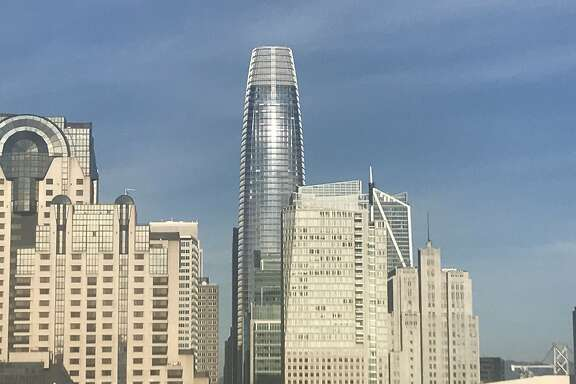 Salesforce Tower as seen from the public space atop the Hampton Inn on Mission Street, November 28, 2017.