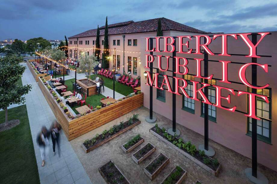 Liberty Public market at twilight. Photo: Zack Benson / Zack Benson / Liberty Public Market / zackbenson.com  760-505-6997