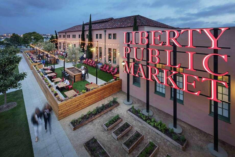 Liberty Public market at twilight. Photo: Zack Benson / Zack Benson / Liberty Public Market / zackbenson.com  760-505-6997