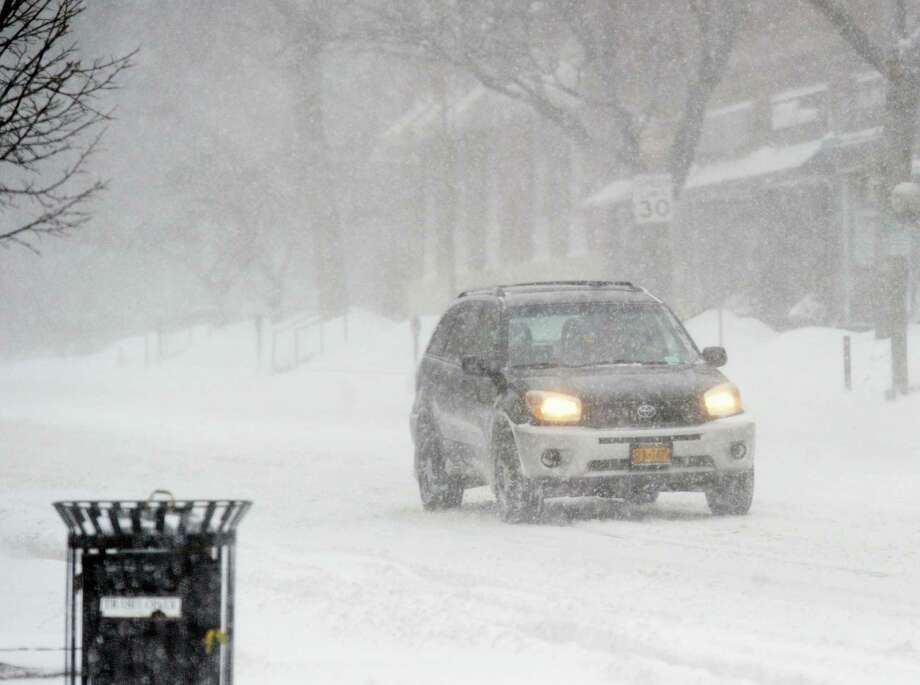A driver makes it through the snowstorm that hit Greenwich last week. Photo: Bob Luckey Jr. / Hearst Connecticut Media / Greenwich Time
