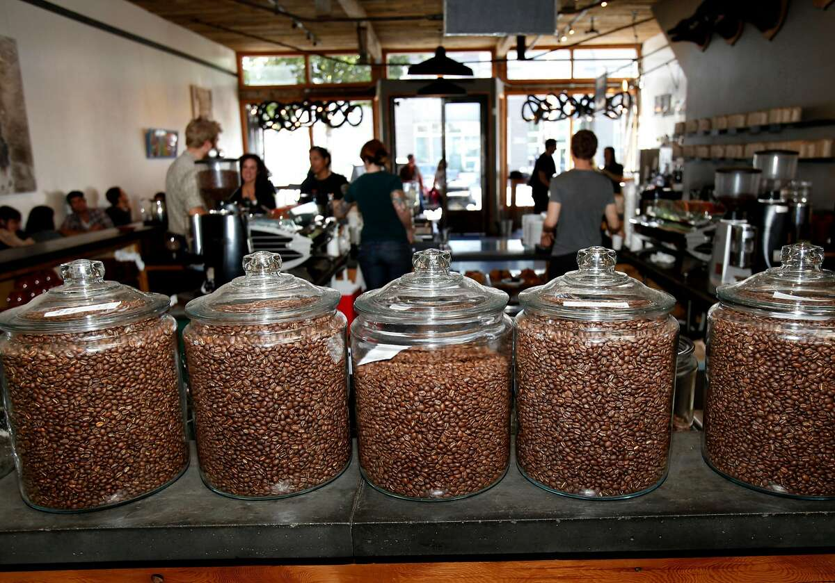 Coffee beans at Four Barrel Coffee on Valencia Street in San Francisco.