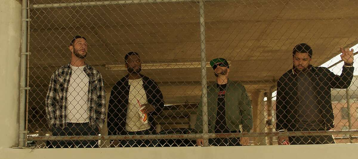 """Den of Thieves"": Pablo Schreiber, left, Curtis Jackson, Evan Jones and O'Shea Jackson."