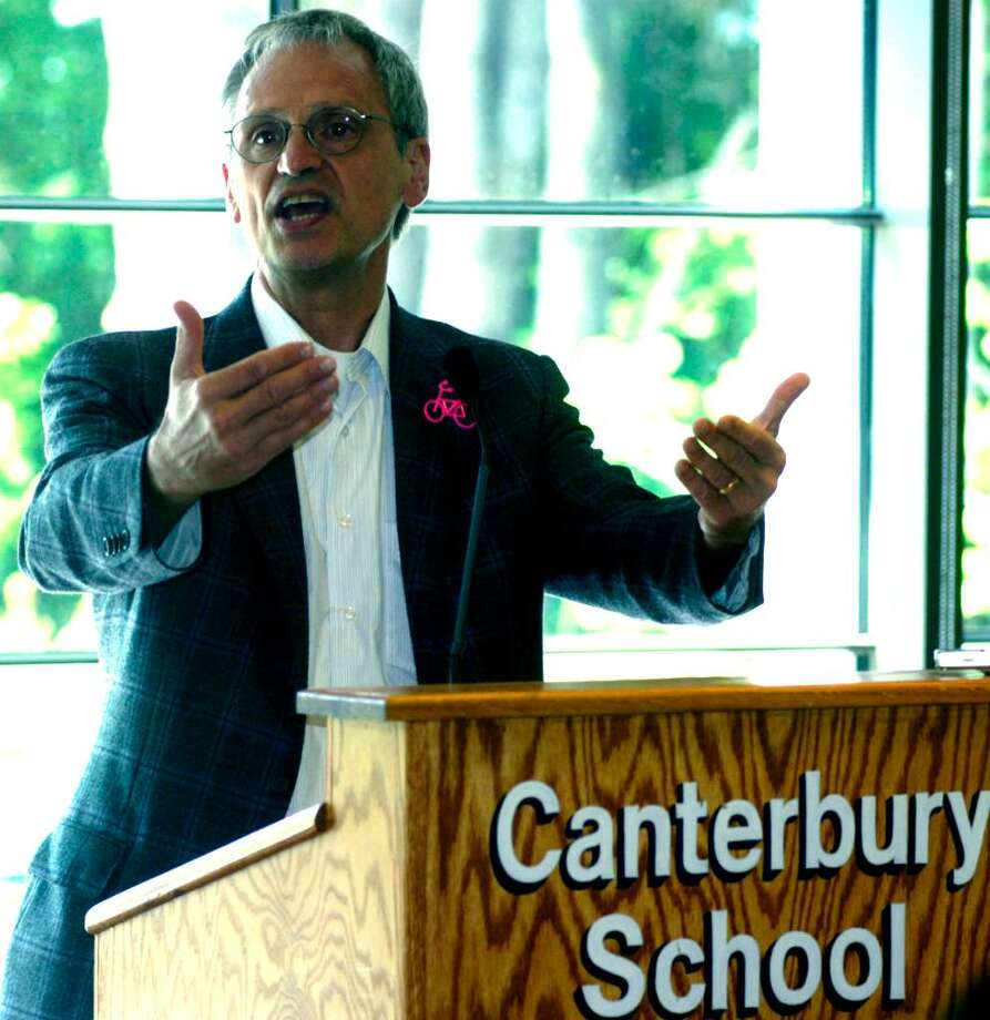 "SPECTRUM/Oregon Congressman Earl Blumenauer, chairman of the House of Representatives' Livable Communities Task Force, speaks Saturday, June 27, 2010 at Canterbury School in New Milford during an ""Imagining Connecticut in 2050"" forum hosted by Congressman Chris Murphy. Photo: Norm Cummings / The News-Times"