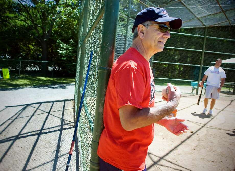 Bobby Valentine works with coaches and students at the Bobby Valentine Sports Academy Summer Camp at Mead Park in New Canaan, Conn. on Wednesday June 30, 2010. Photo: Kathleen O'Rourke / Stamford Advocate
