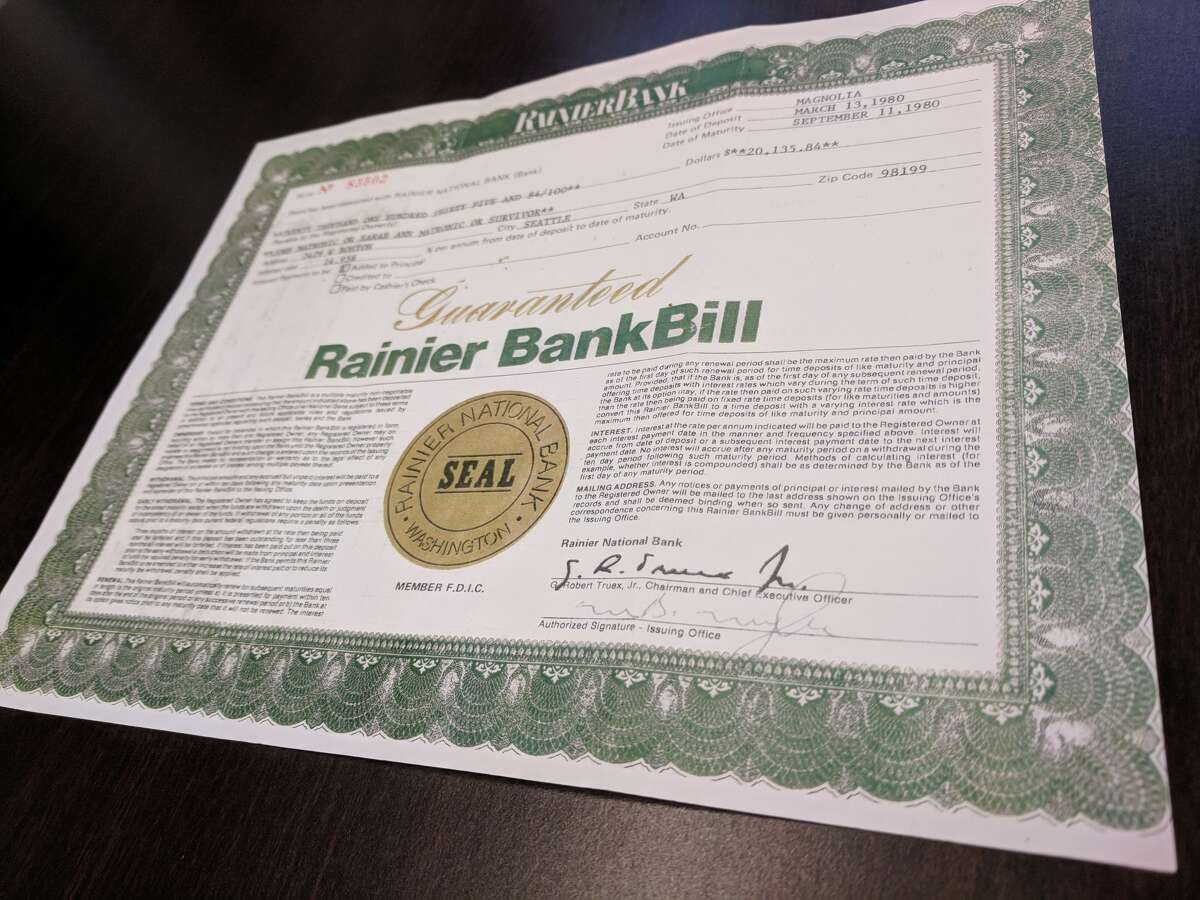 Bossen presented a photocopy of the 1980 Rainier Bank bond. The original copy he used to redeem to Bank of America remains in safekeeping.