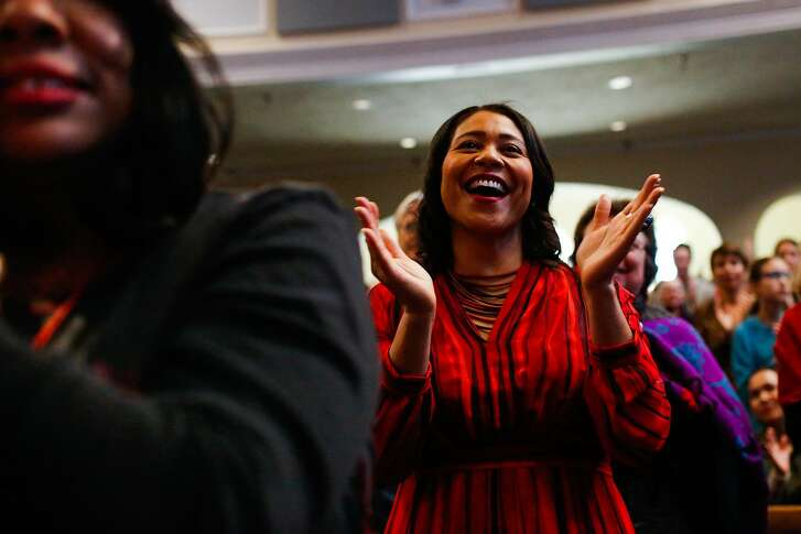 Acting Mayor London Breed participates in Glide Memorial Church's Christmas Eve morning service in San Francisco, Calif., on Sunday, Dec. 24, 2017.