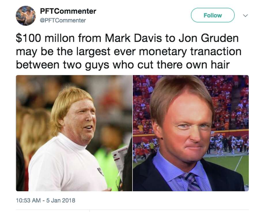 NFL media personalities react to Jon Gruden's record-breaking 10-year $100 million contract with the Raiders. Photo: Twitter