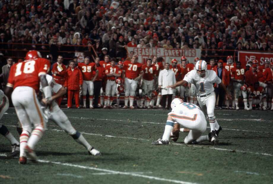 1971 AFC: Dolphins 27, Chiefs 24 (2 OTS)The longest game in NFL history - it ended 7:30 into double overtime - also is the last playoff contest waged on Christmas Day. Garo Yepremian's 37-yard field goal in the second extra session ended a marathon battle. The Chiefs' Ed Podolak posted 350 all-purpose yards in a losing cause. Photo: Focus On Sport/Getty Images