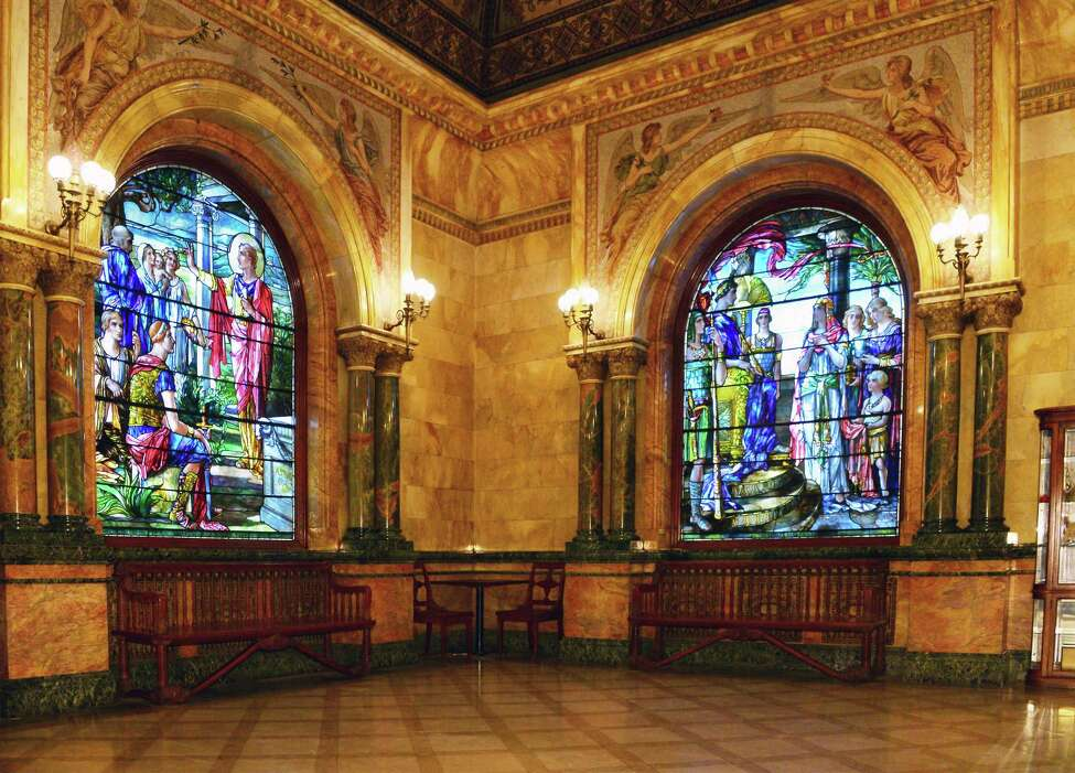 Ante room with Maitland Armstrong stained glass and mosaics at the Earl Chapel at Oakwood Cemetery Wednesday Dec. 13, 2017 in Troy, NY. (John Carl D'Annibale / Times Union)