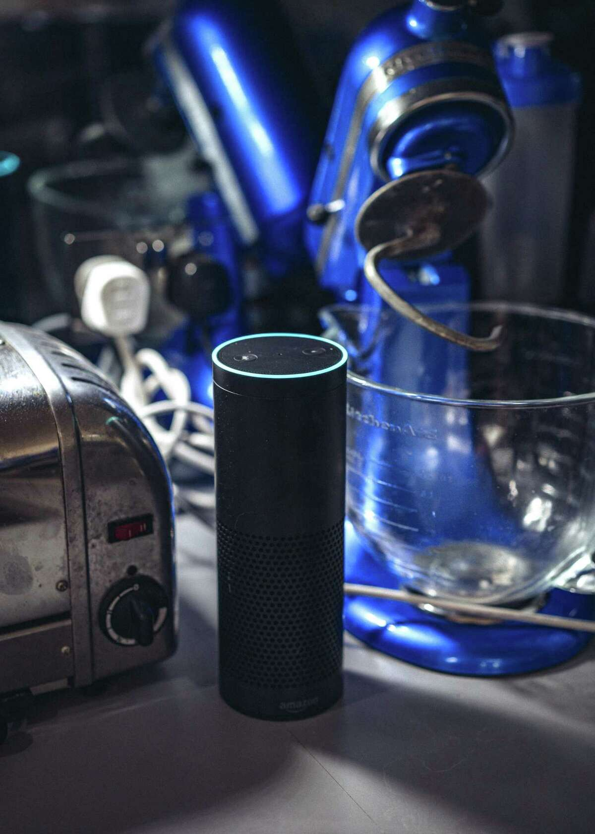 An Amazon Echo, which allows access to Alexa, Amazon's artificially intelligent assistant, in a home in London, Dec. 23, 2017.