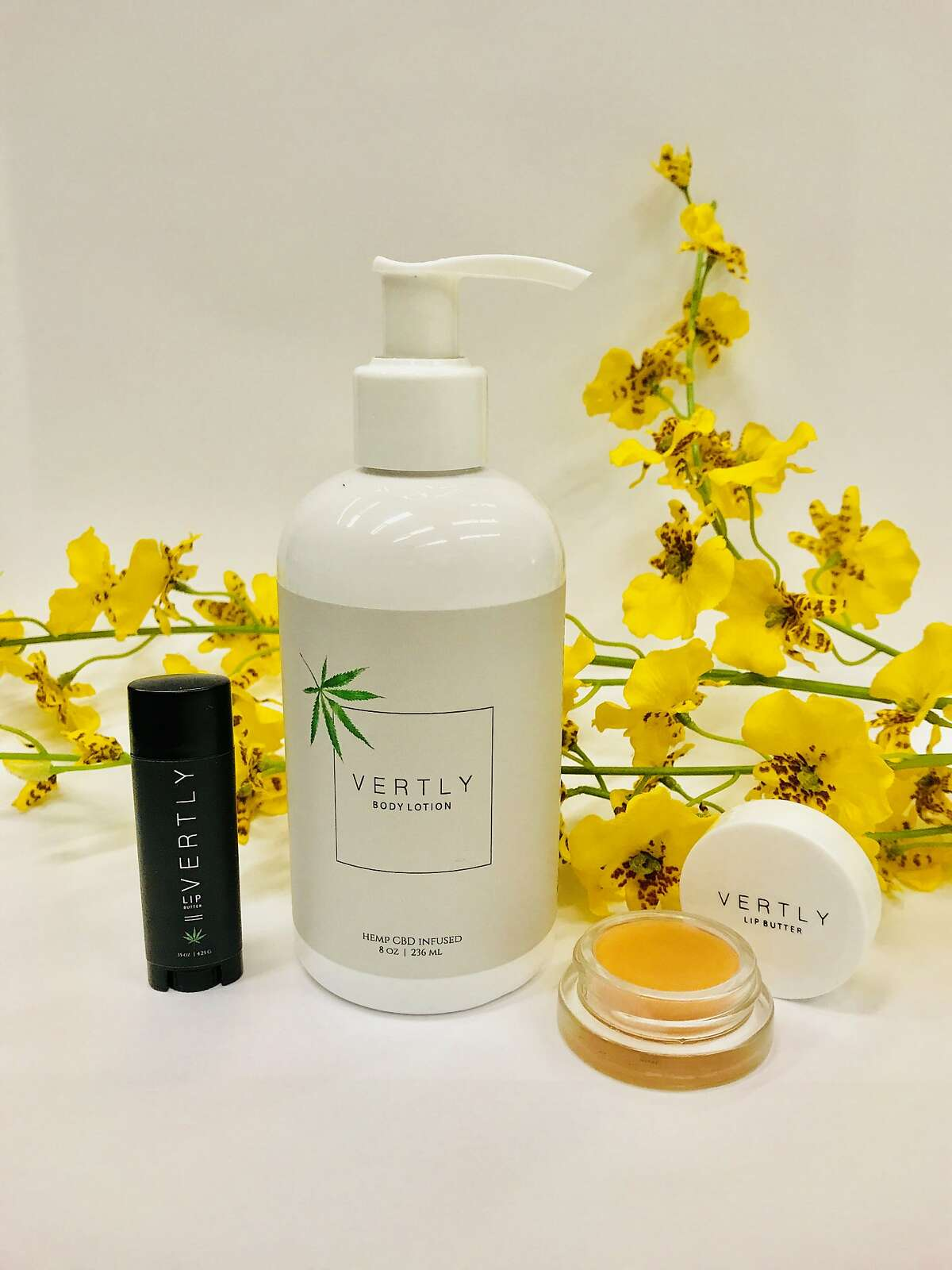 Claudia Mata and Zander Gladish launched Vertly, a plant-based lip balm� line in August 2017 with cannabis as an ingredient, and have added a lotion infused with CBD to the line. It debuts in February. Standard balms come in white packaging and are infused with sativa oil derived from the hemp seed, , while products in white packaging contain CBD, or cannabidiol, a hemp molecule with fatty acids and vitamins.� The rose-scented (and rose-colored)� jar of CBD lip balm retails for $22, at Hero Shop boutique on in San Francisco and www.vertlybalm.com. The black lip balm sells for two in a package for $26, at Barbary Coast dispensary, San Francisco. A new CBD massage oil (center) will be available in February at www.vertlybalm.com.