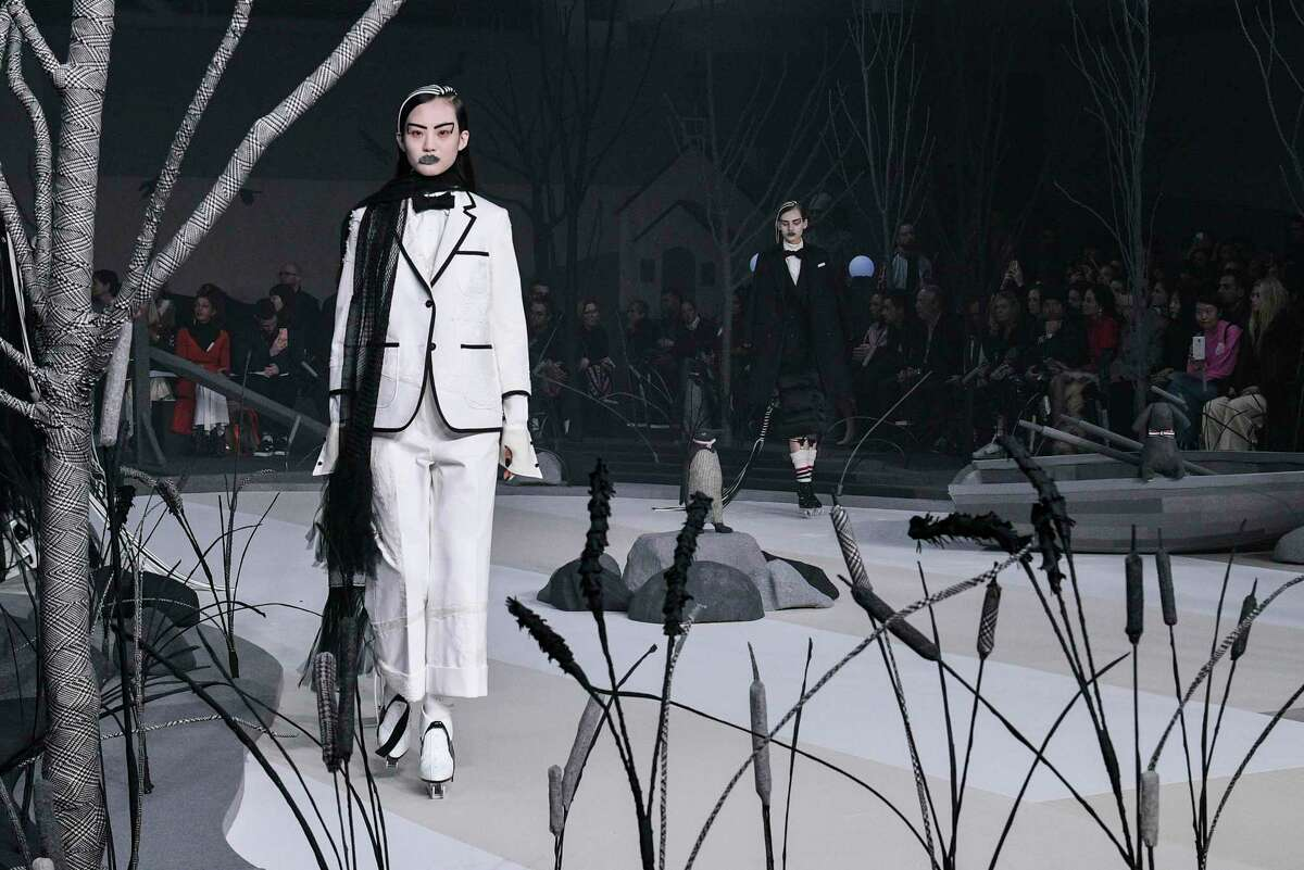 A model walks the runway at the Thom Browne Fall/Winter 2017 collection at Skylight Modern during New York Fashion Week on February 15, 2017 in New York City.