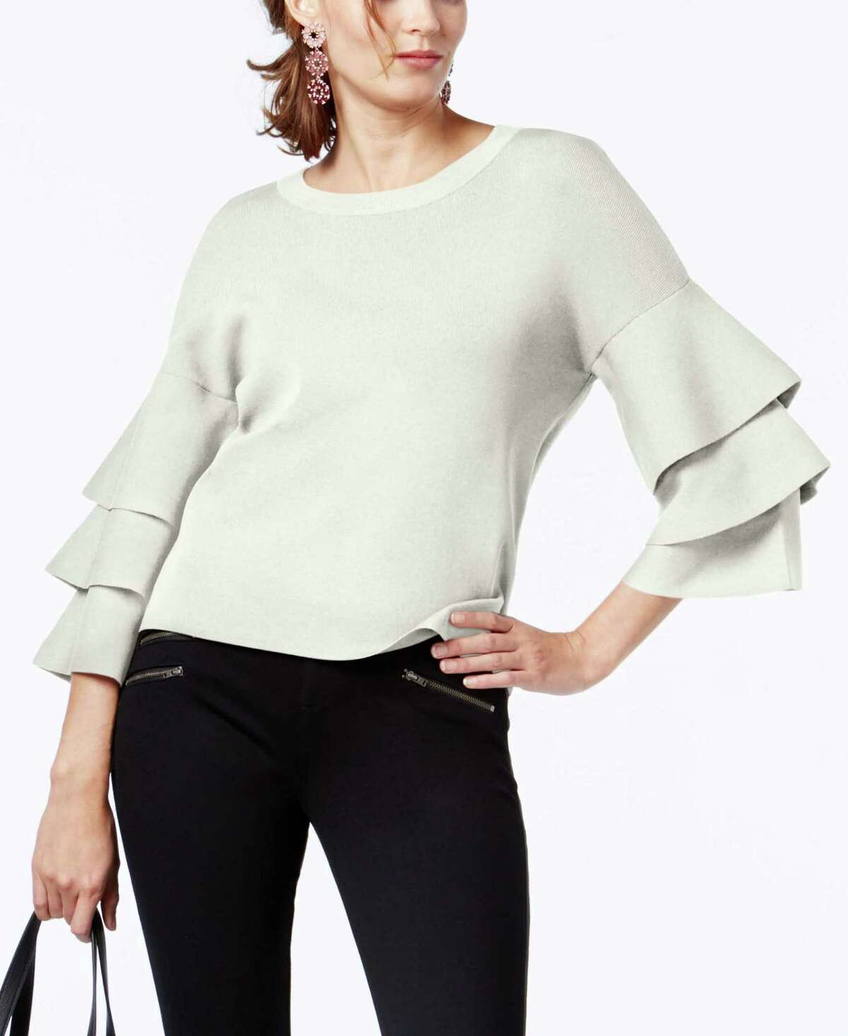 WINTER WHITE: INC International Concepts Tiered Sleeve Sweater, $79.50, at Macy's