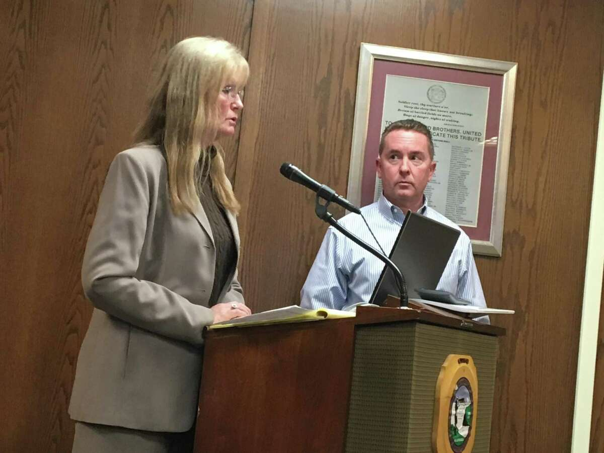 West Haven Mayor Nancy Rossi, left, and Finance Director Kevin McNabola update the City Council on the state of the city's finances on Monday, Dec. 11, 2017.