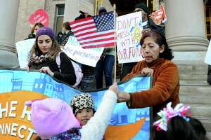 A rally in Bridgeport last year took place days after the massive mobilization in Washington, D.C., calling for local policies that protect immigrants and refugees.