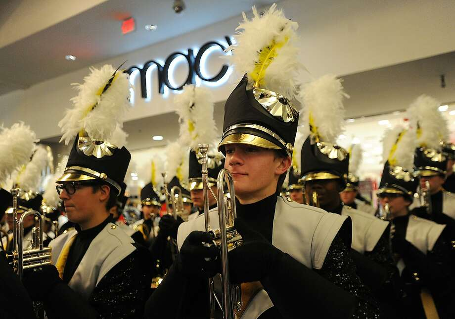 In preparation for the Macy's Thanksgiving Day Parade, the Trumbull High School Marching Band performs at the Westfield Trumbull Mall in Trumbull, Conn. on Monday, November 20, 2017. Photo: Brian A. Pounds, Hearst Connecticut Media