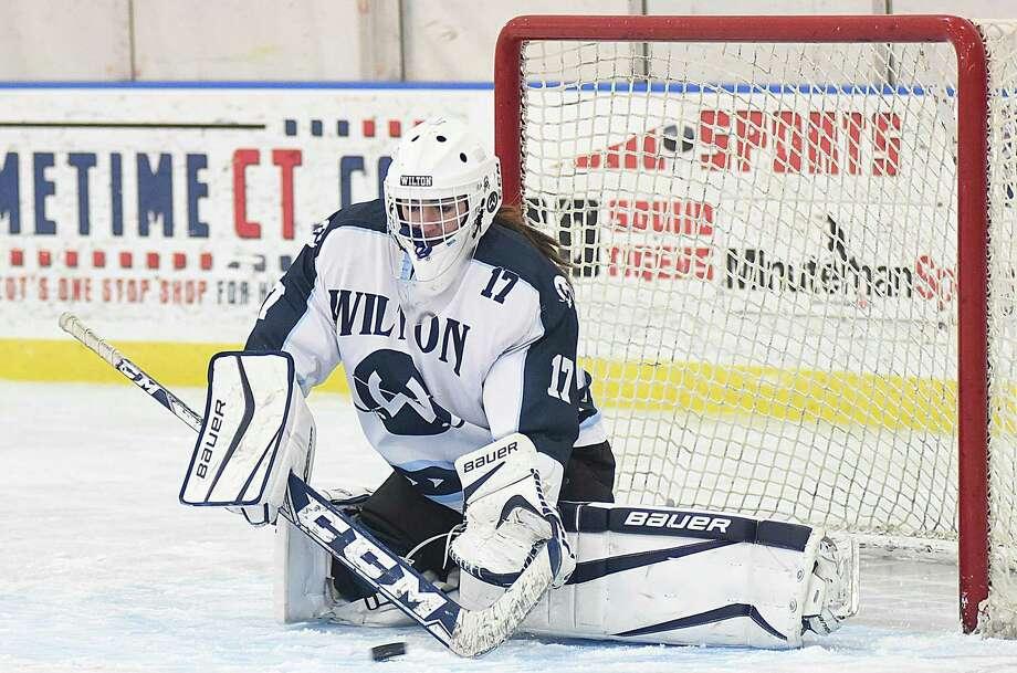 Wilton co-op girls hockey goaltender Izzy Najah got her first win in her varsity start last weekend against Notre Dame-Fairfield. 12-15-16 Photo: John Nash / Hearst Connecticut Media / Norwalk Hour