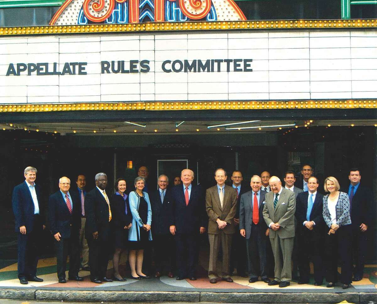 U.S. District Judge Lee H. Rosenthal, wearing pale blue, circa 2009, chair of the Standing Committeeon the Rules of Practice and Procedure,with the members of one of the committees she coordinated. Pictured with the judge are members of the Advisory Committee on the Appellate Rules. The Standing Committee coordinates five advisory committees that help guide federal court rules for appellate, bankruptcy, civil, criminal and evidence.