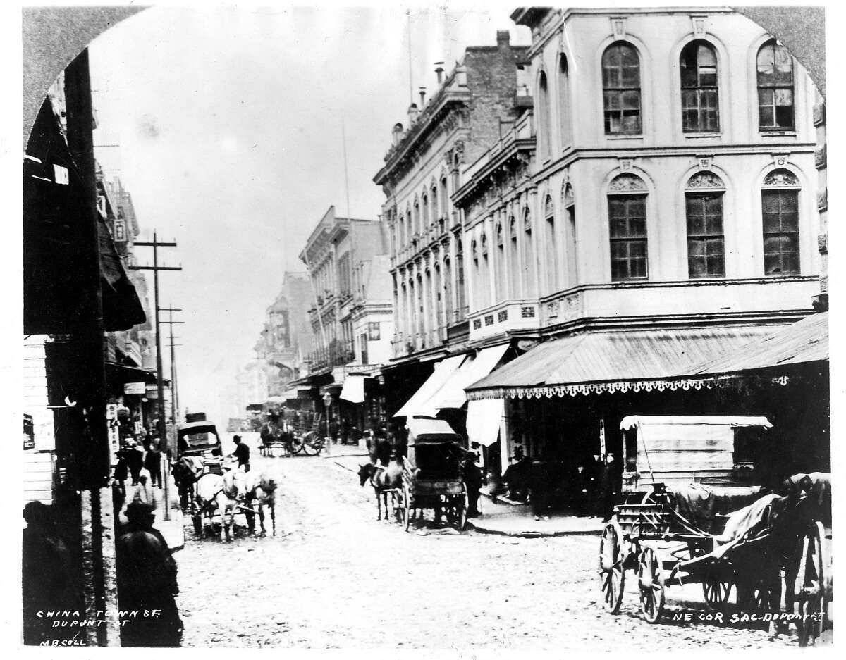 Dupont Avenue in Chinatown in San Francisco, 1890s. The first victim of the plague in San Francisco died on this street. 150 anniversary maybe