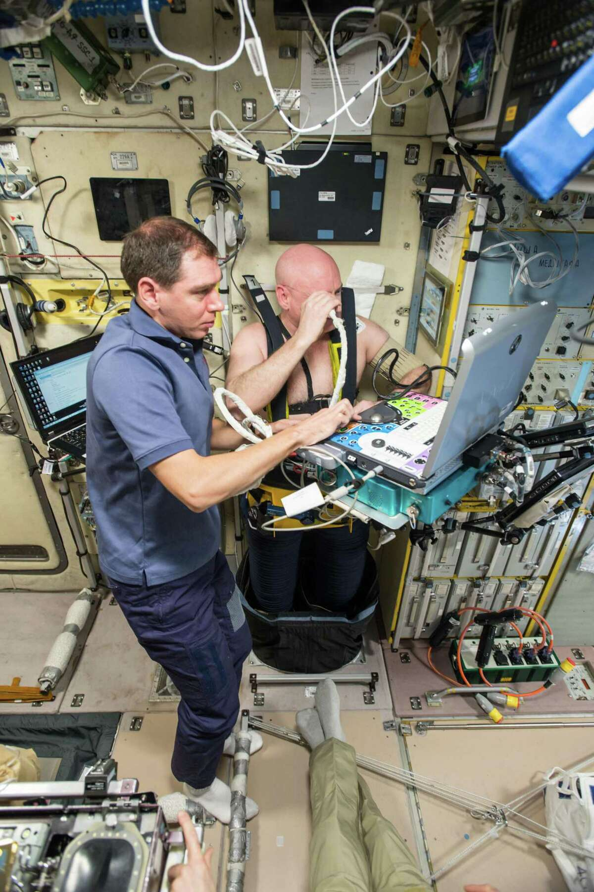 NASA astronaut Scott Kelly wearing a Chibis Lower Body Negative Pressure (LBNP) Suit, undergoes ultrasound measurements for the Fluid Shifts experiment.