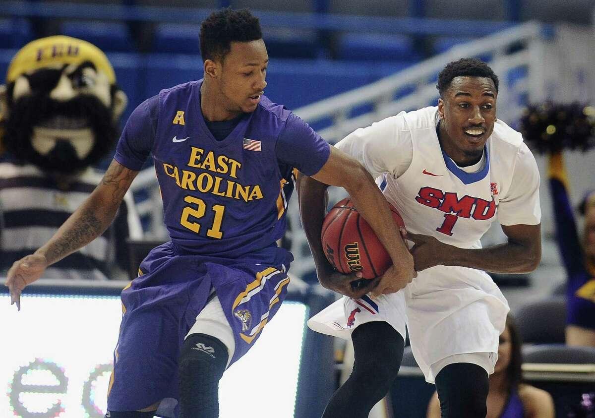 UConn will look to slow East Carolina's B.J. Tyson, left, on Saturday.