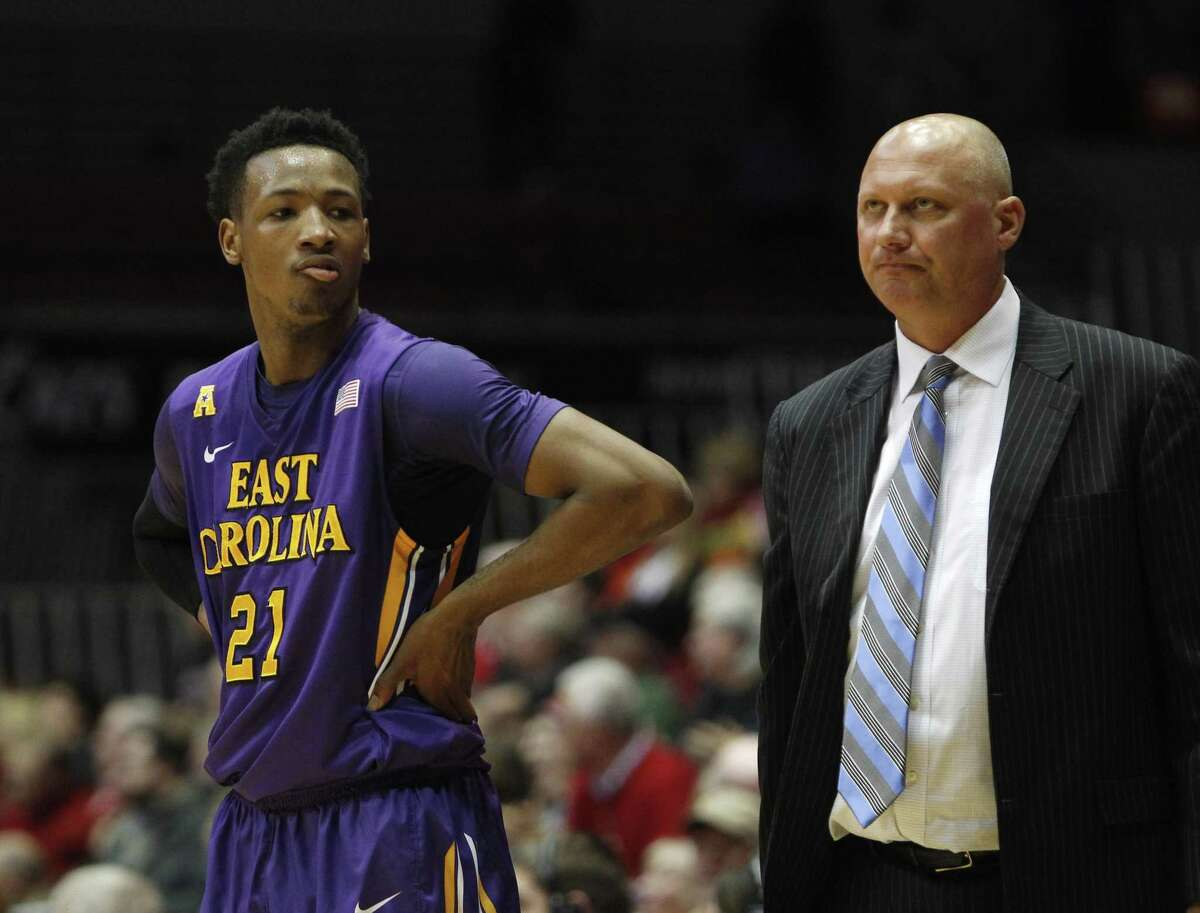 Head coach Jeff Lebo, guard B.J. Tyson and East Carolina face UConn on Saturday.
