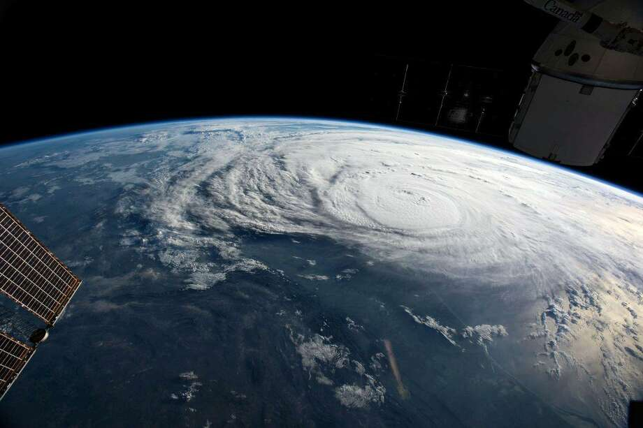 Hurricane Harvey is seen off the coast of Texas from the International Space Station on Aug. 25. Researchers currently suspect that certain types of weather, such as hurricanes, affect the ionosphere more than others. Data from GOLD, and another mission set to launch later this year, will help answer those questions. Photo: NASA / NASA