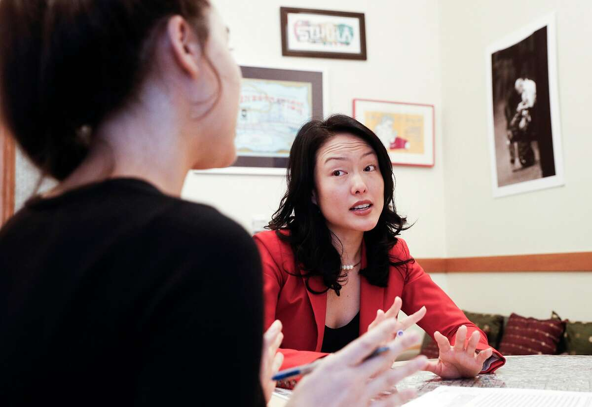 Legislative Assistant Noelle Duong, (left) meets with Supervisor Jane Kim at her office inside City Hall in San Francisco, Calif. on Fri. January 5, 2018.