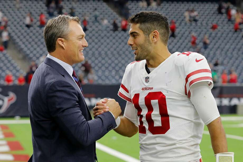 HOUSTON, TX - DECEMBER 10:  Jimmy Garoppolo #10 of the San Francisco 49ers celebrates with general manager John Lynch after the game against the Houston Texans at NRG Stadium on December 10, 2017 in Houston, Texas.  (Photo by Tim Warner/Getty Images) Photo: Tim Warner / Getty Images