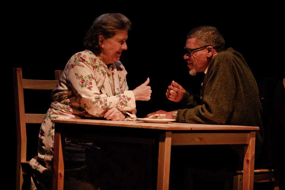 """With a 'thumbs up' signifying their long, unusual relationship, Miss Daisy (Jeannette Clift George) and Hoke (Wayne DeHarp) recognize the differences and celebrate the similarities of their lives, in the classic play, """"Driving Miss Daisy"""". You can see this solid gold winner weekends at A.D. Players, 2710 W. Alabama in Houston. Call 713-526-2721 for times and ticket information. Photo: For The Citizen / Internal"""