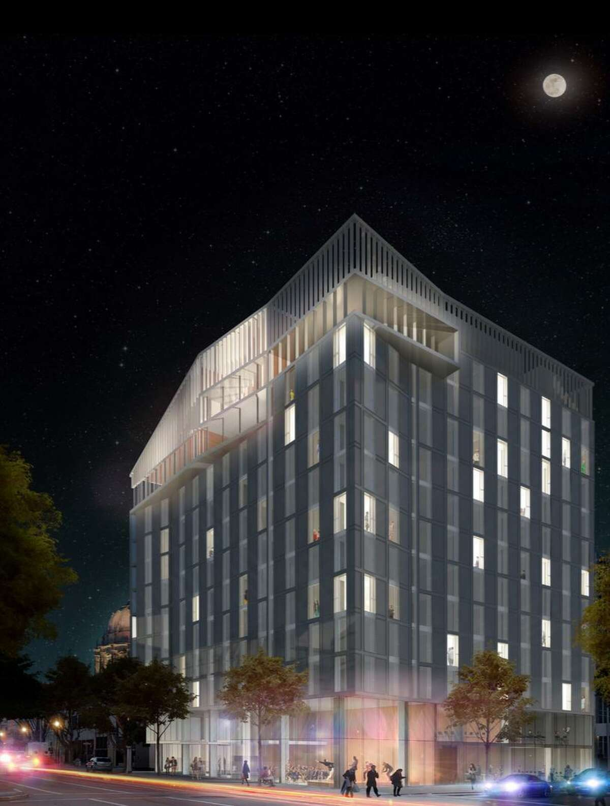 Cavagnero's firm is working on the 12-story building for the San Francisco Conservatory of Music seen in this rendering.