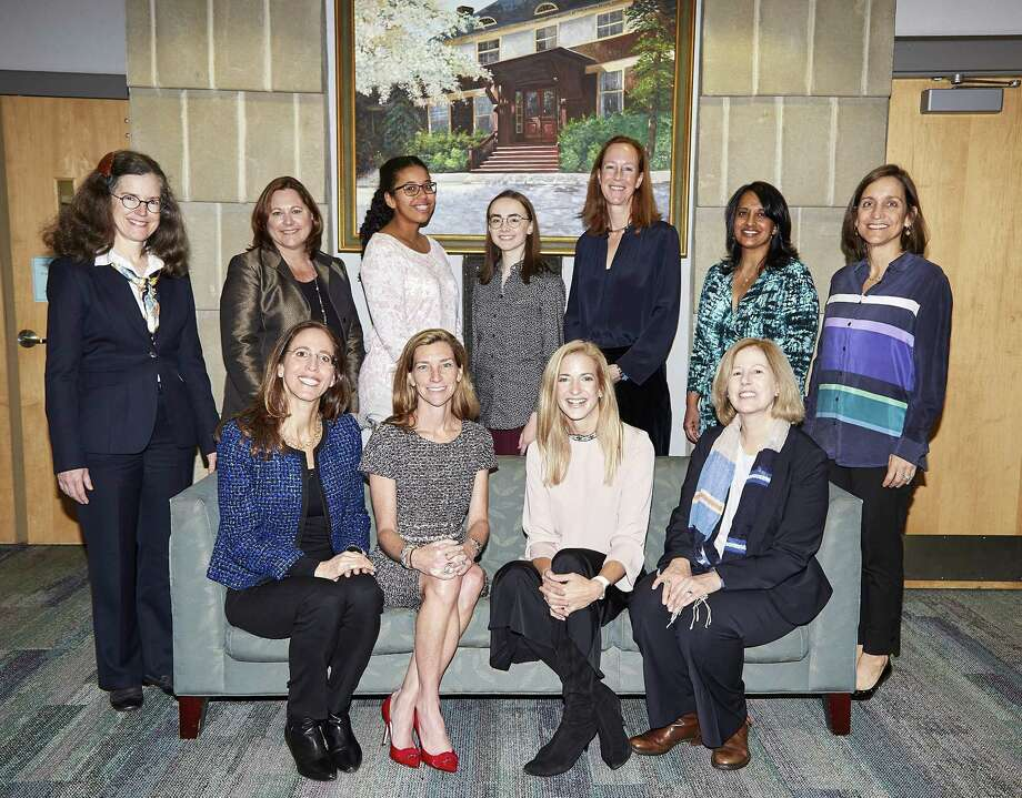 YWCA Greenwich will present its 41st annual BRAVA Awards on Jan. 19 at Hyatt Regency Greenwich. The honorees, seen here at a November reception, are standing, from left, Amy Siebert, Karen Ress, Rene LaPointe Jameson, Cassandra Marcussen, Betsy O'Reilly, Bismruta Misra and Lucy Ball. Seated are, from left, Deborah Hodys, Kara Underwood, Catherine Polisi Jones and Alice Knapp. Photo: Contributed