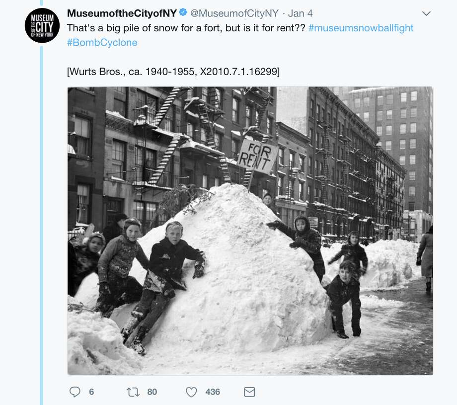 Museums across the country lobbed historical photos of snowstorms past at each other on Twitter Jan. 4, 2017, using the hashtag #museumsnowballfight. Photo: Twitter