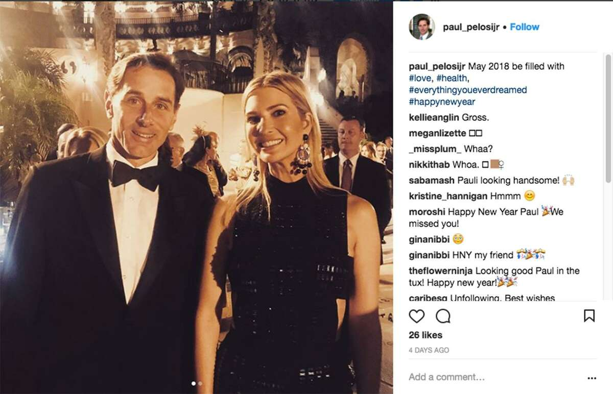 Paul Pelosi Jr. son of House Democratic leader Nancy Pelosi (left), in an Instagram photos of himself with first daughter Ivanka Trump, celebrating the New Year at President Trump?•s Mar-a-Lago golf resort.
