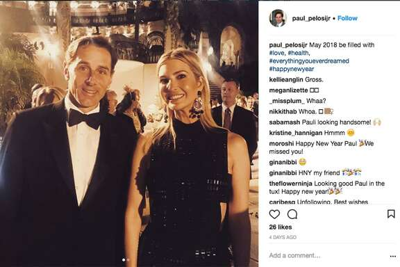 Paul Pelosi Jr. son of House Democratic leader Nancy Pelosi (left), in an Instagram photos of himself with first daughter Ivanka Trump, celebrating the New Year at President TrumpÕs Mar-a-Lago golf resort.