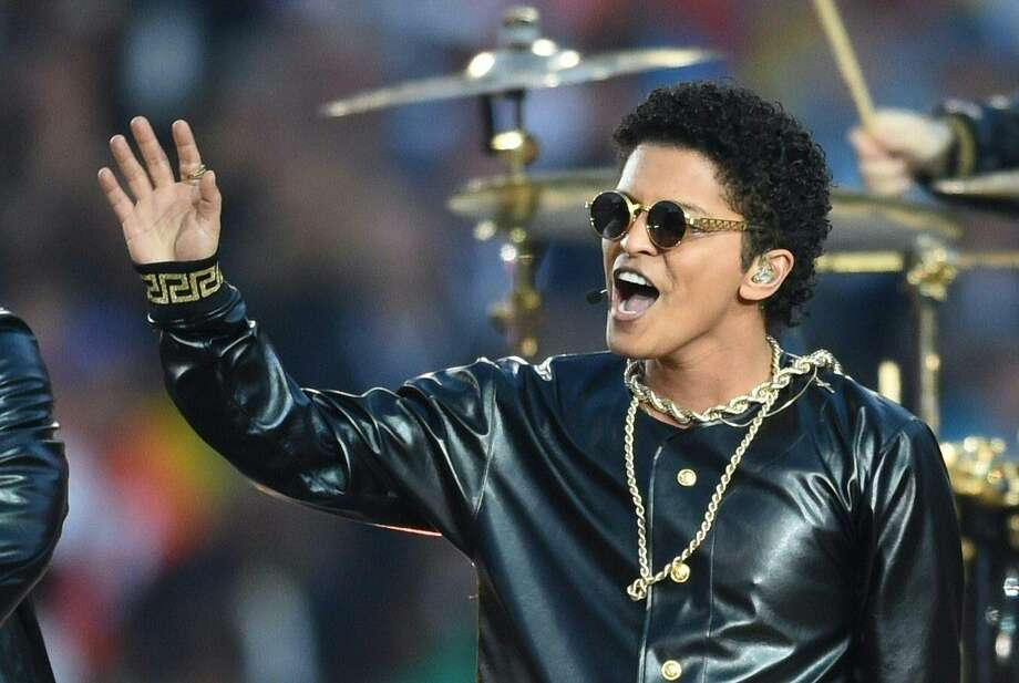 Bruno Mars performs during Super Bowl 50 between the Carolina Panthers and the Denver Broncos at Levi's Stadium in Santa Clara, California February 7, 2016. Photo: TIMOTHY A. CLARY / AFP/Getty Images / This content is subject to copyright.